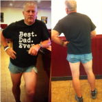 Dad wears short shorts, like daughter