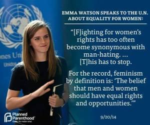 Emma Watson promoting feminism.