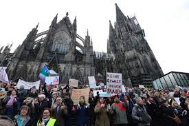 Demonstration against violence against women at Cologne cathedral