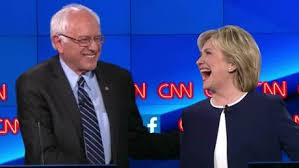 Bernie Sanders and Hillary Clinton at their first debate.